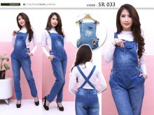 Jumpsuit jeans stretch jumbo 2 warna #033 XL/2XL/3XL