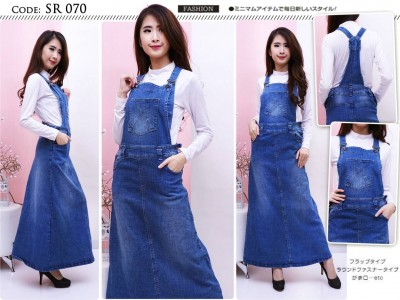 Jumpsuit Dress Jeans Biru Navy #070 M/L/XL
