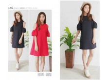 Cut-out Sabrina Casual Dress#1252