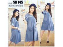 Tunik Dress Jeans Lis Putih #145