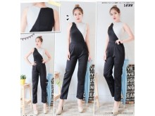 Jumpsuit Black & White With Keyhole Neck#1538