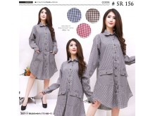 Kemeja Dress Kancing Busui Katun #156