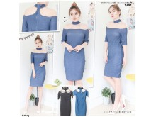 Bodycon Dress Choker #1591
