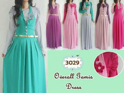 Hijab Set: Manset, Gamis Overall, Belt #3029