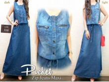 Dress Gamis Jeans Zipper #308