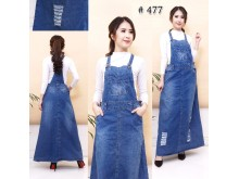 Jumpsuit Dress Ripped Jeans Biru Dongker #477 M/L/XL