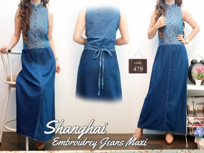 Maxi Dress Jeans Bordir Hijab #479