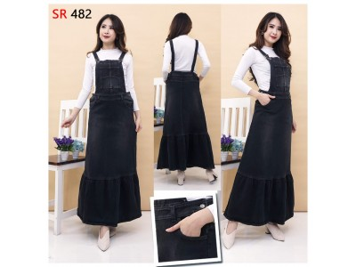 Overall Dress Jeans Hitam Stretch #482
