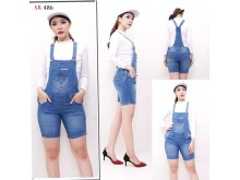 Jumpsuit Celana Pendek Jeans Stretch #486 M/L/XL