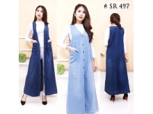 Rompi Jeans Maxi Dress 2 Warna #497