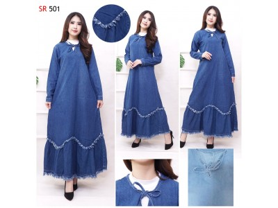 Gamis Jeans Washed 2 Warna #501