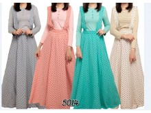 Gamis 2in1 Overall Dress Polkadot #5014