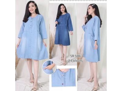 Dress Jeans Kancing Depan Busui Friendly #506
