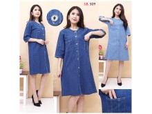 Dress Jeans Kancing Depan 2 Warna Busui #509