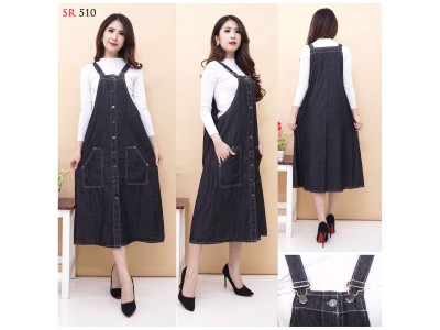 Overall Dress Black Jeans Kancing Depan #510