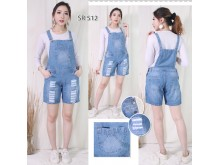 Jeans Jumpsuit Short Pants Back Cover #512 2XL/3XL/4XL
