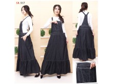 Overall Flare Dress Jeans Hitam #517 M/L/XL
