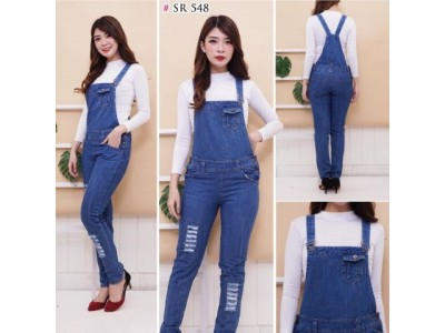 Overall Ripped Jeans Navy #548 M/L/XL