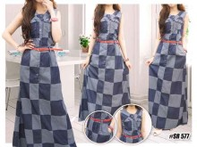 Maxi Dress Jeans Kotak + Belt #577