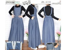Overall Dress Jeans Kotak #B6191