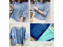 Blouse Rip Jeans Import #783