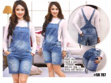 Overall Rip Jeans Short Pants #787 M / L / XL