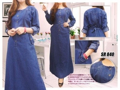 ... Home 168 Collection Rok Maxi 4 Motif Jeans Long Skirt 03 Page 2 Gamis Jeans Biru