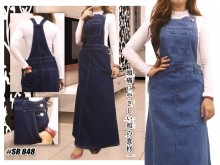 Jumpsuit Dress Jeans Biru Tua Jumbo #848 XL/2XL/3XL