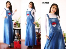 Overall Jeans Dress Bordir Pokeball #930
