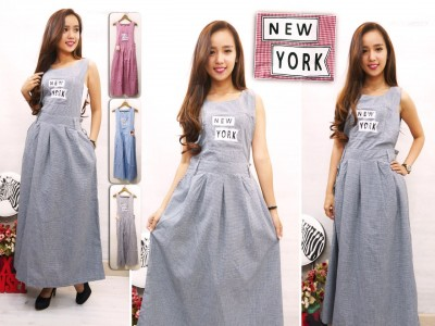 Jumpsuit Dress Katun Kotak New York #935