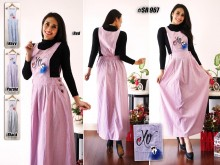 Overall Dress Bordir XO #SR967