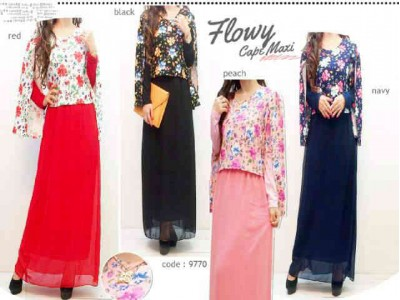 Gamis Cape Wedges Floral #9770