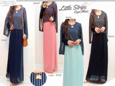 Gamis Cape Wedges Stripes Dark #9770