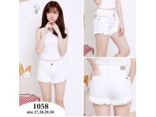 Hot Pants Jeans Putih Rumbai #1058
