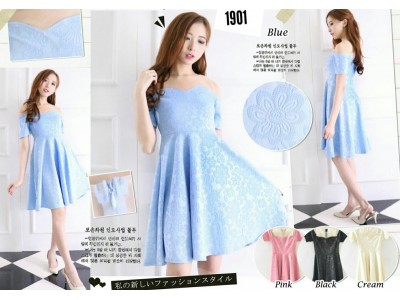 Dress Motif Bunga Salju #1901