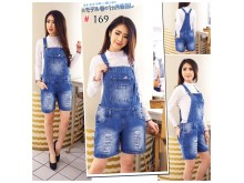 Celana overall rip jeans big size #169 XL/2XL/3XL