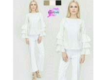 Ruffles Long-Sleeve Hijup Top #2048