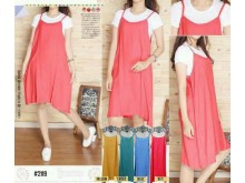 Set Camisole Dress Dengan Kaos #2119