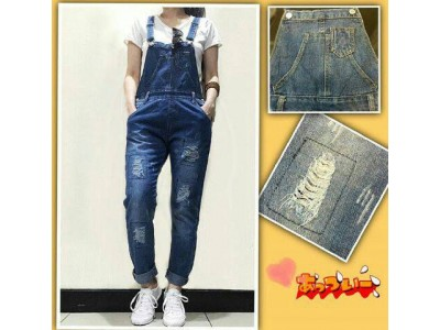 Jumpsuit Dark Rip Jeans Import #8002