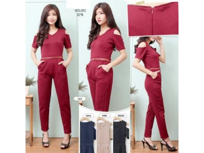 Jumpsuit Scuba Cold Shoulder #829B