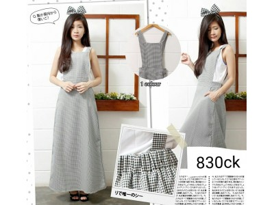 Overall Dress Katun Khusus Abu #830CK