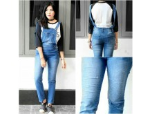 Jumpsuit Jeans Stretch Robek Laser #887 XL