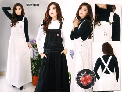 Overall Dress Katun Wash Hitam Putih #900