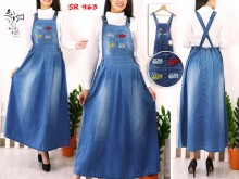 Overall Jeans Dress Patches Tempel #SR963