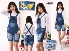 Overall Jeans Navy Rip Bordir #973 M/L/XL