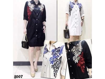 Dress Kemeja Bordir Bunga Batik #8007