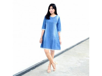 Dress Tunik Jeans Lengan 3/4 XL #020