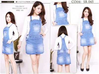 Overall Skirt Jeans Stretch Big Size #045 2XL / 3XL