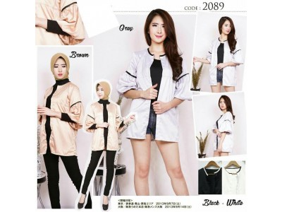 Cardigan Satin Lengan Balon #2089