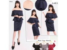 Off Shoulder Scuba Peplum Mesh Dress #2483